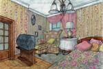Коттедж в Нахабино. Эскиз комнаты бабушки. 2006 г.