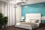 Дизайн спальни с голубыми панелями 1