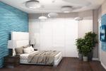 Дизайн спальни с голубыми панелями 2