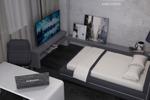 Дизайн спальни с серыми тканевыми панелями 2
