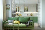 Дизайн-проект квартиры в Москве. Вид из гостиной на кухню.