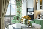 Дизайн-проект квартиры в Москве. Вид из кухни на балкон.
