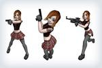 Лоуполи модель девушки для шутера от 3-го лица - боевая подруга