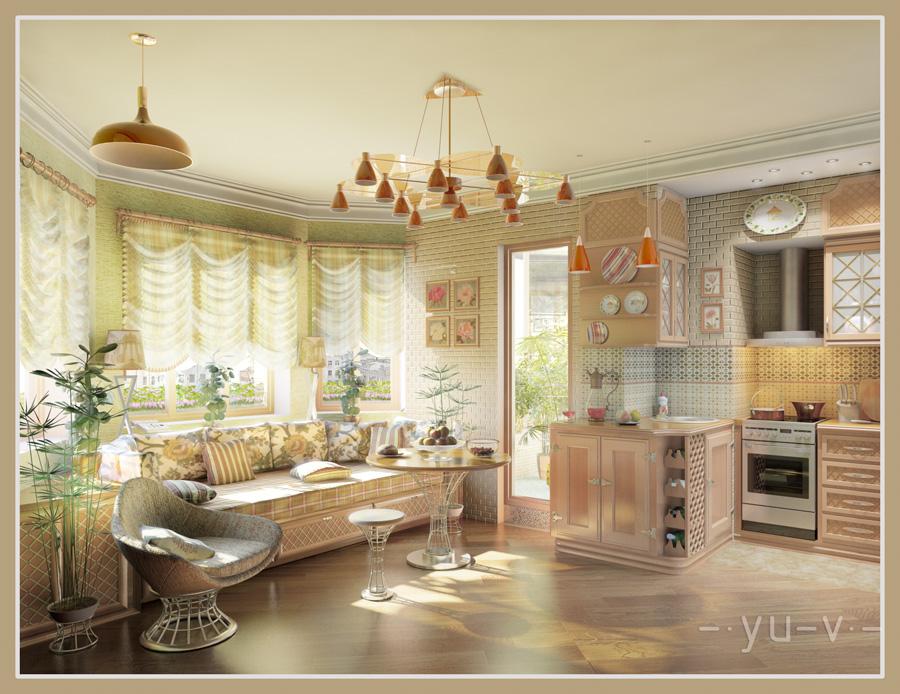 Кухня-гостиная. Общий вид. Дневное освещение.