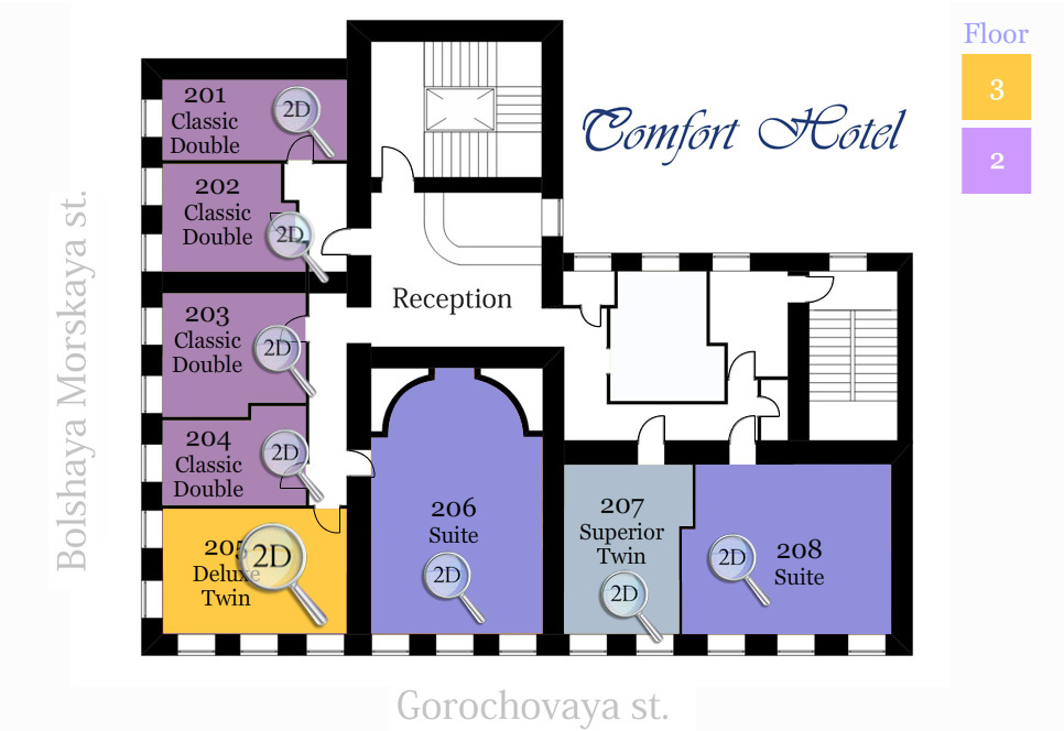 План комнат отеля