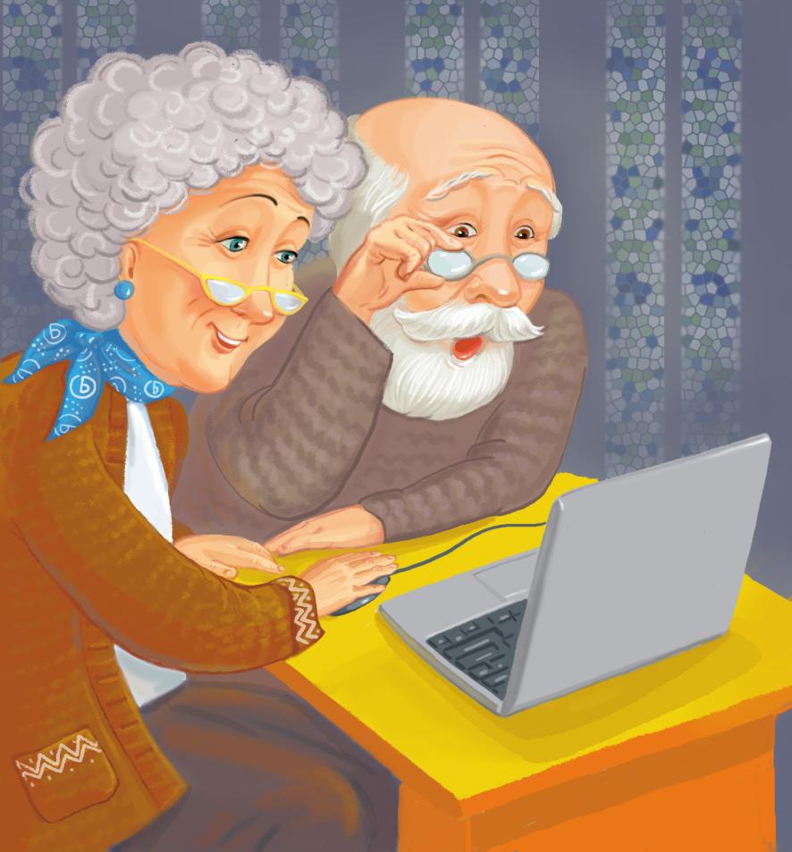 Бабушка и дедушка за компьютером.