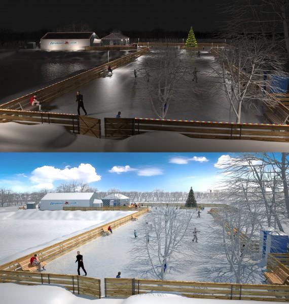 3d дизайн катка в городском парке, Москва