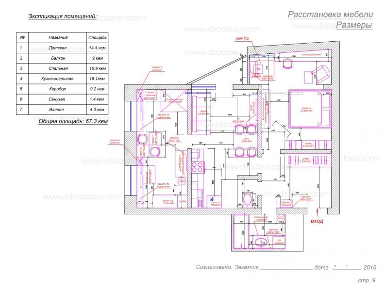 План расстановки мебели. 2-к квартира