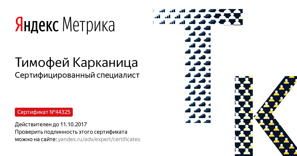 Сертификат специалиста Яндекс.Метрика