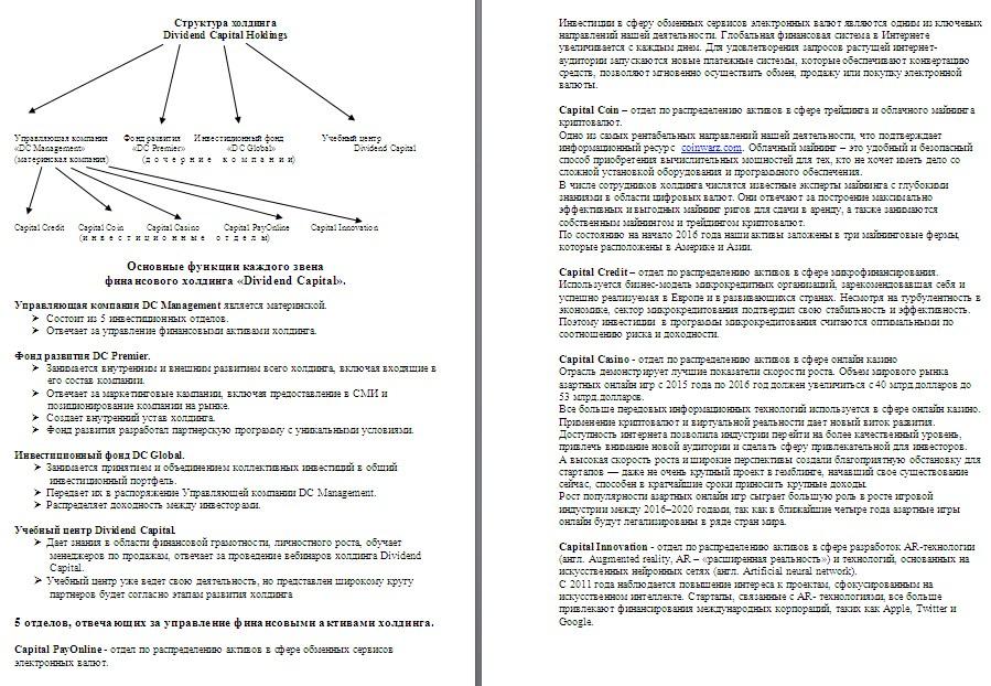 Инвестиции (структура холдинга)