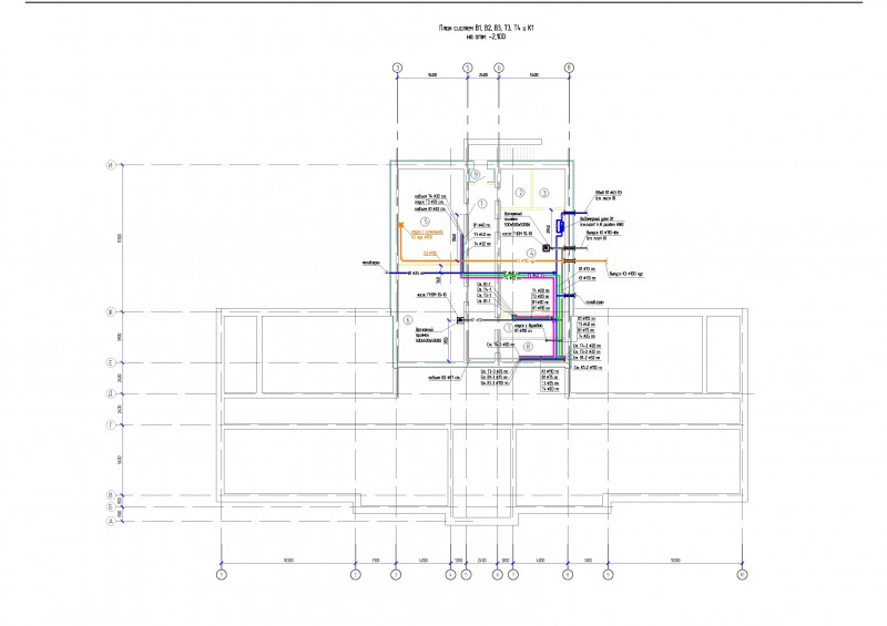 Планы систем В1, В2, Т3, Т4, К1 и К3 АБК