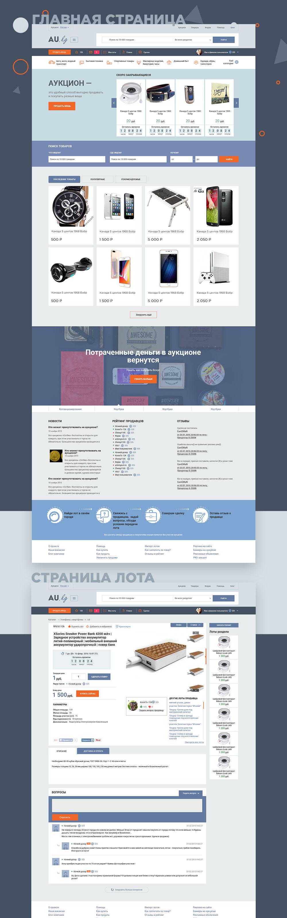 Au.kg. Интерфейс для сайта-аукциона