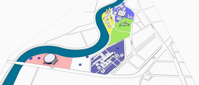 3Д-схема комплекса зданий.