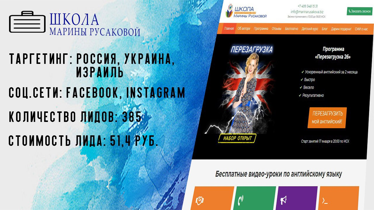 Таргетированная реклама для школы английского Марины Русаковой