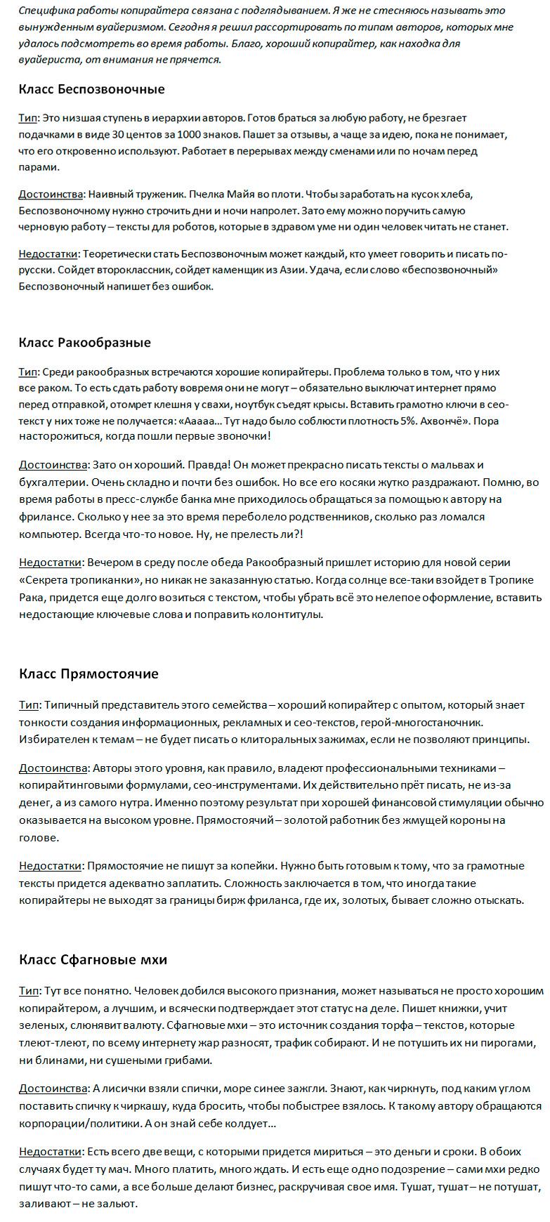 Авторский сео-текст о типах копирайтеров