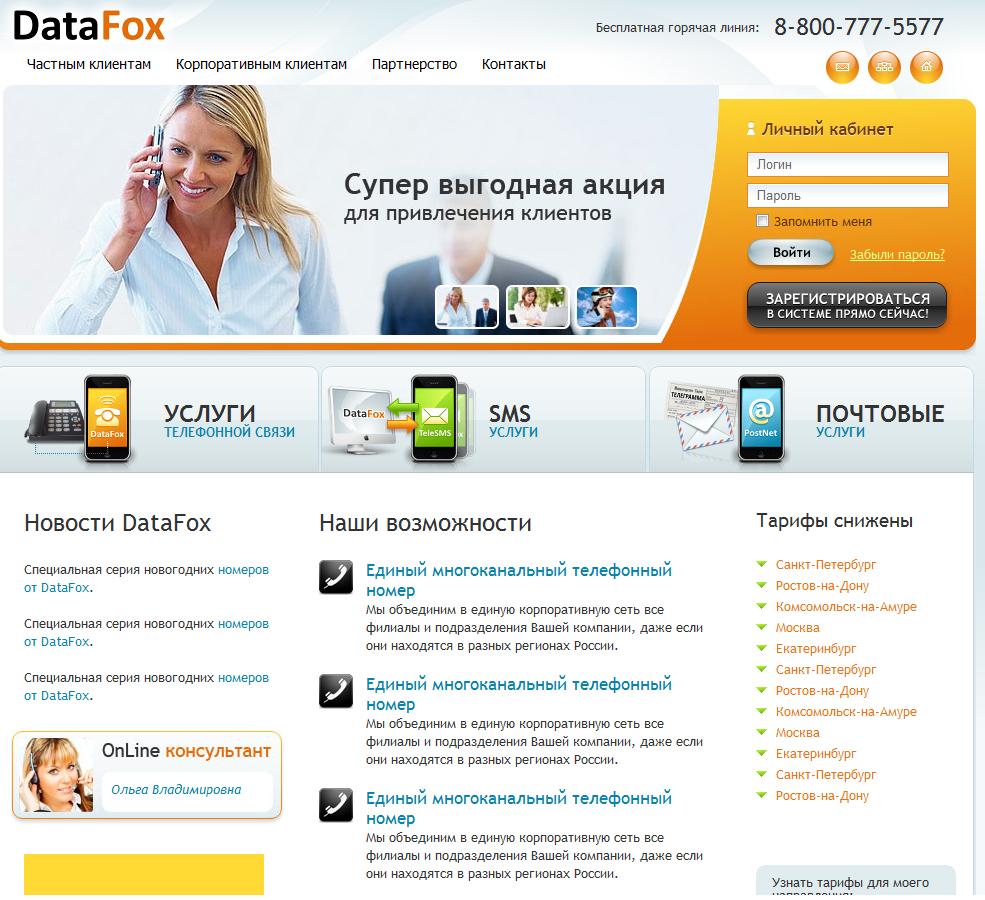 Интернет-сайт компании DataFox.ru