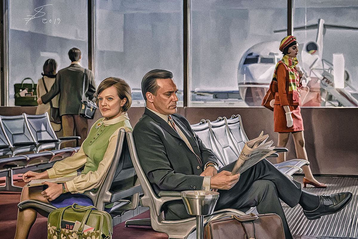 Draper and Olson in the Airport