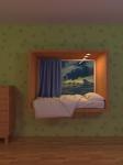 Кровать в оконном проёме.