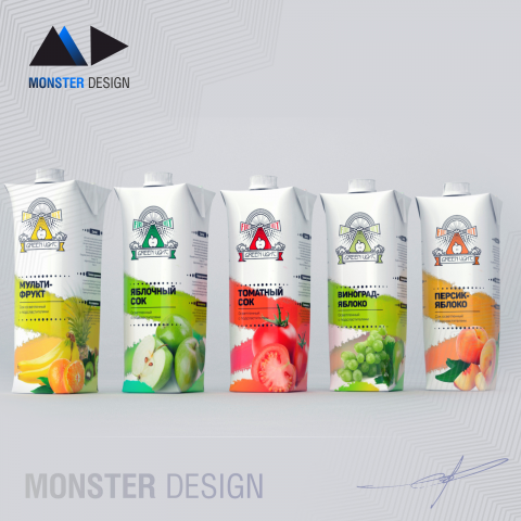 Дизайн серии упаковок для соков Green flight