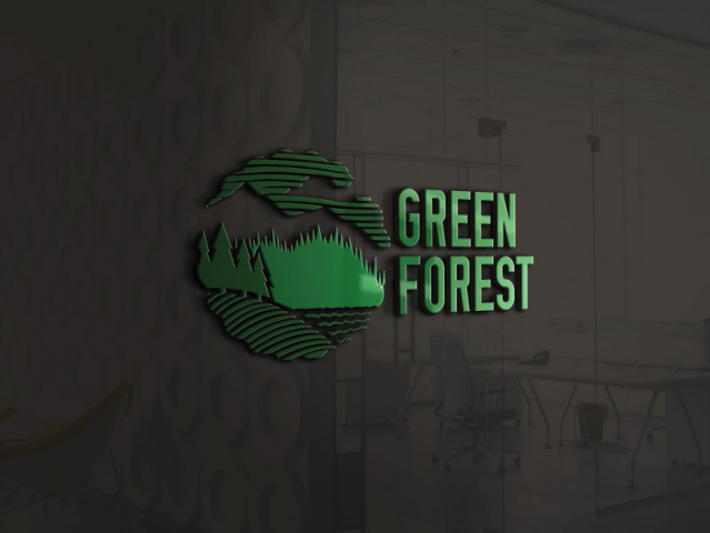 "Логотип бренда угля ""Green Forest"""