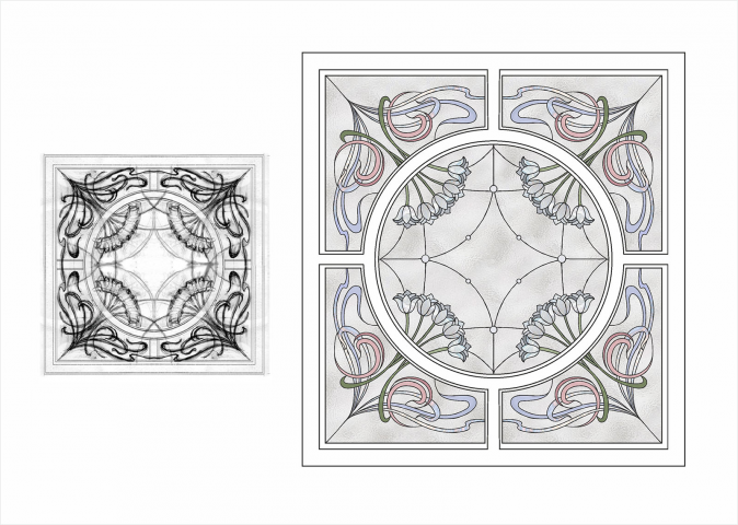 Создание оригинал-макета для печати витража по эскизу от руки