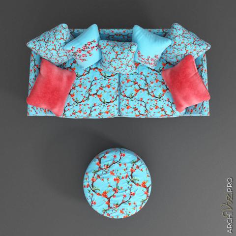 Моделирование и визуализация дивана Skarlet ROY BOSH