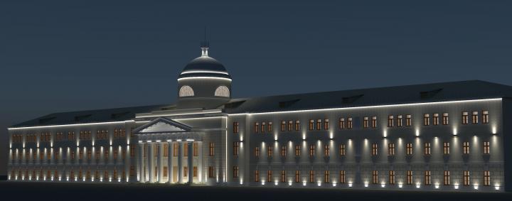 Подсветка фасада (богадельня, Протопоповский пер.)