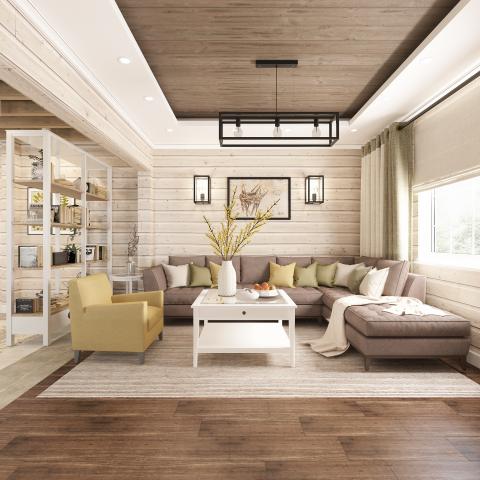 Дизайн зоны гостиной в частном доме.