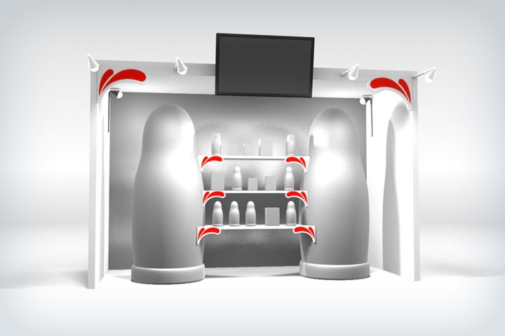 Визуализация выставочного стенда с матрёшками