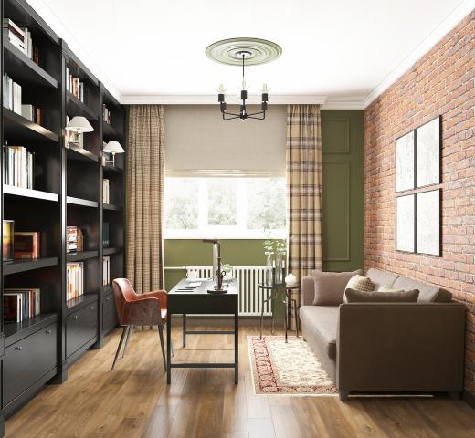 Дизайн кабинета в частном доме.