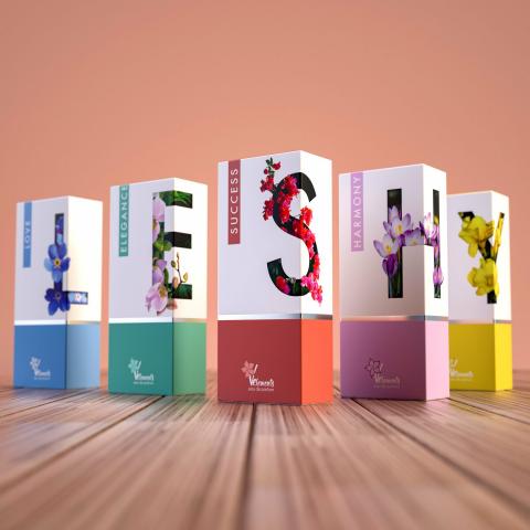 Дизайн упаковки для серии парфюмерии V-element