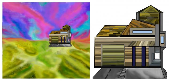 Дом равнина ландшафт кр.масштаб