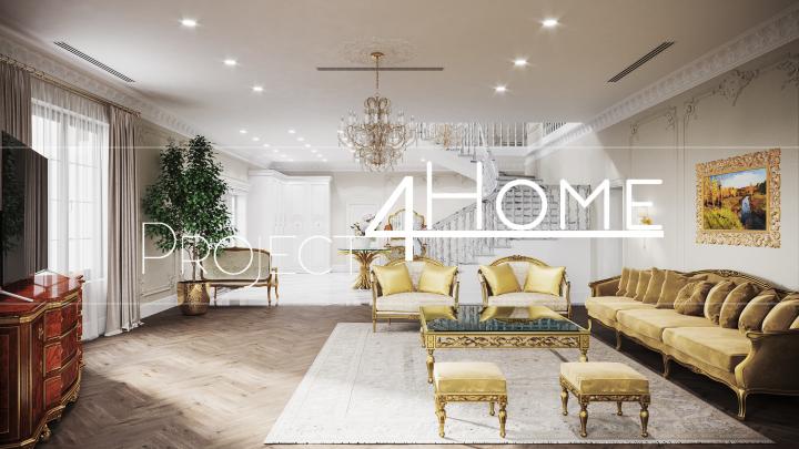 Дизайн-проект жилого дома (холл первого этажа - 98,87 м2)