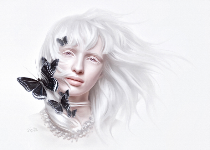 Albino Alice with butterflies (Mesmerizing style)