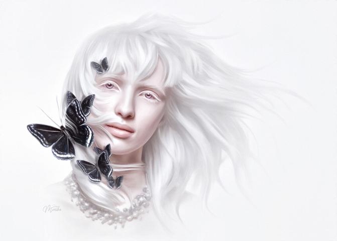 Albino Alice with butterflies (Mesmerizing style)