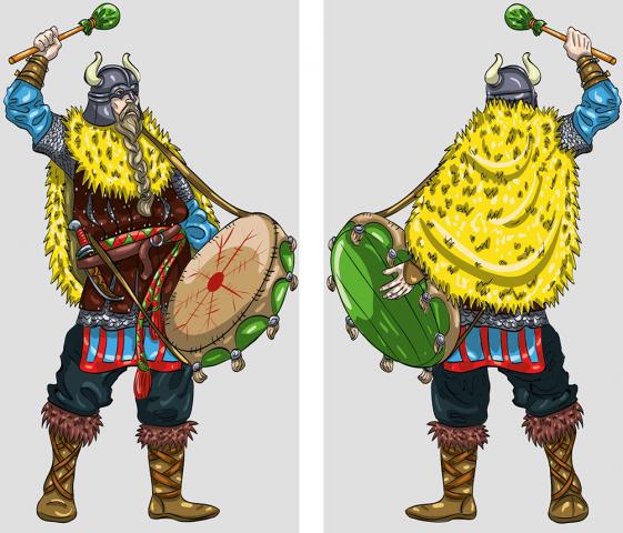 Викинг-барабанщик для оловянных солдатиков