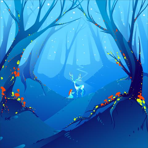 Волшебный лес с волшебным оленем