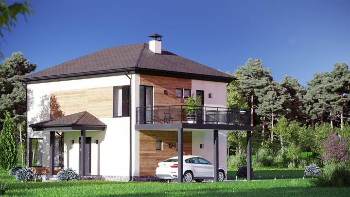 Визуализация фасада дома и окружения